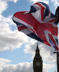 'British' Englisch: England (Flagge, Big Ben)